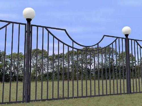 Забор с фонарями